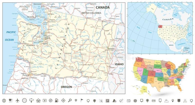 Stan Washington mapy nawigaci set ilustracji