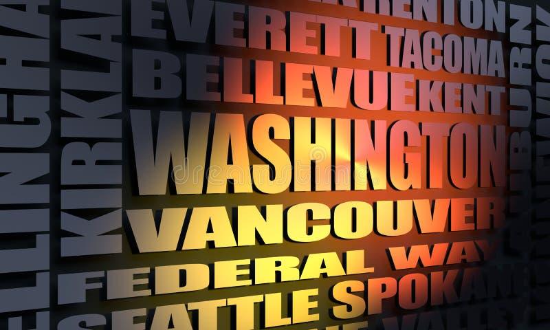 Stan Washington miast lista ilustracja wektor