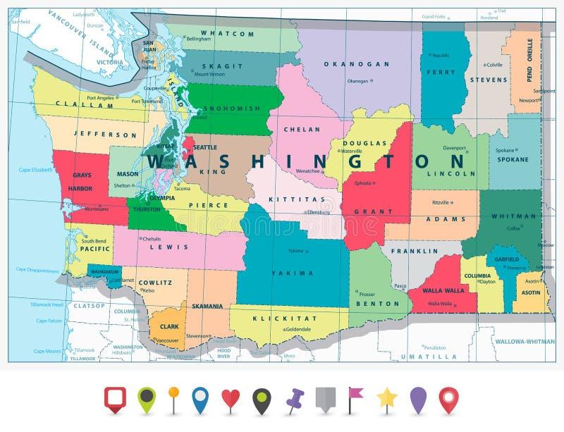 Stan Washington polityczna mapa i mieszkanie ikony set royalty ilustracja