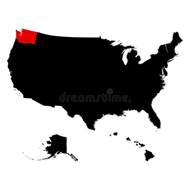 Stan Washington w Stany Zjednoczone mapie ilustracji