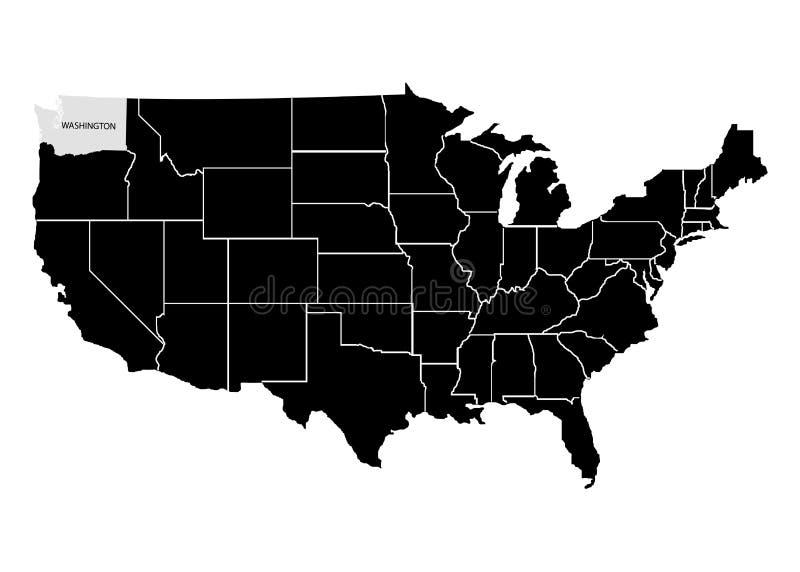 Stan Waszyngton na usa terytorium mapie Biały tło również zwrócić corel ilustracji wektora royalty ilustracja