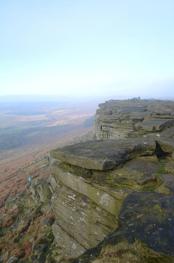 Stanage edge, Hathersage, Derbyshire. Walkers on Stanage edge,Hathersage,Peak,District royalty free stock photography