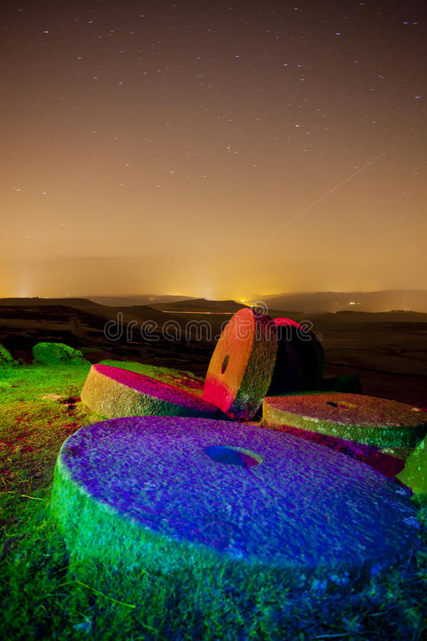 Download Stanage edge light painted stock photo. Image of stary - 24384186