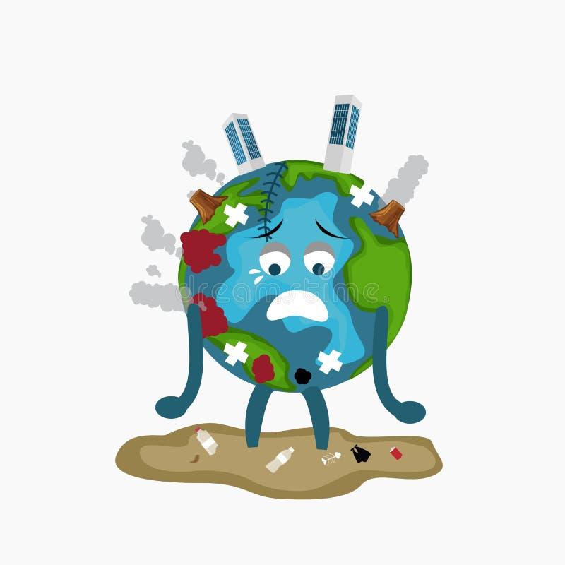 Stanco malato triste del globo di Erath di disboscamento di riscaldamento globale di inquinamento in pieno di danno ambientale sp illustrazione di stock