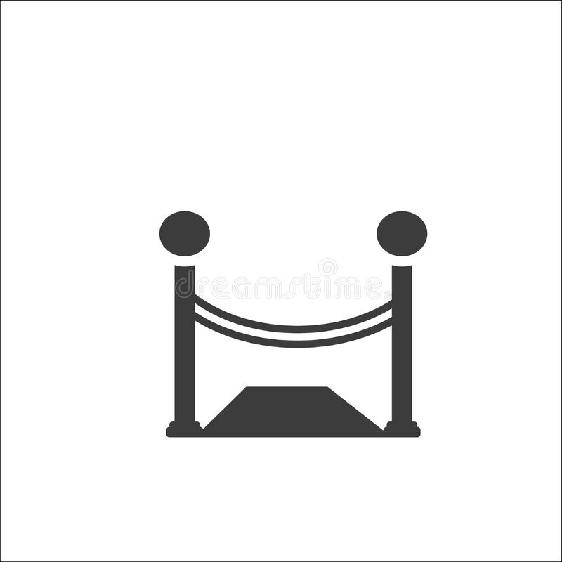 Stand barrier, stanchion ropes flat vector icon. Stand barrier, stanchion ropes flat vector icon for apps and print - Vector vector illustration