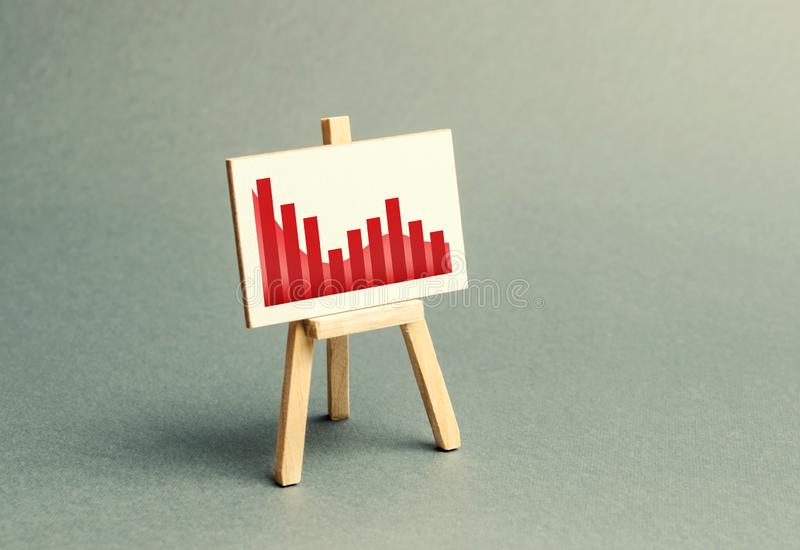 A stand with a canvas and a red downtrending trend. The concept of falling rates and indicators of the economy or production. The bad situation in the markets royalty free stock photo