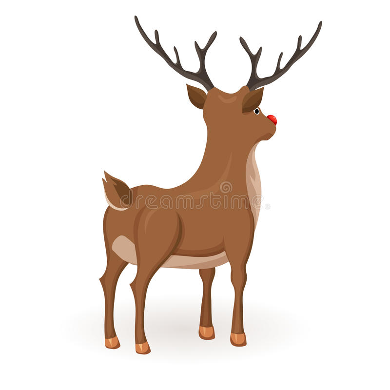Stand cartoon reindeer. Reindeer Christmas vector illustration. Stand deer with red nose. Cartoon reindeer hold back and profile. Xmas holiday icons stock illustration