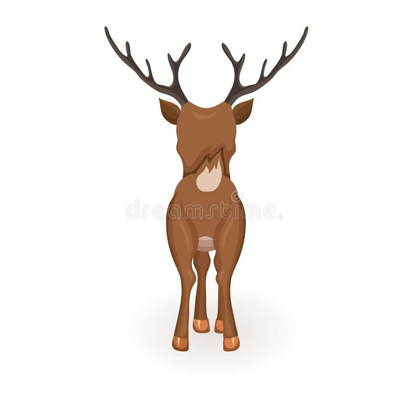 Stand cartoon reindeer. Reindeer Christmas vector illustration. Stand deer with red nose. Cartoon reindeer hold back. Xmas holiday icons vector illustration