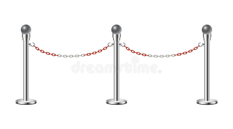 Stand chain barriers with red and white chain. Stand chain barriers in silver design with red and white chain on white background royalty free illustration