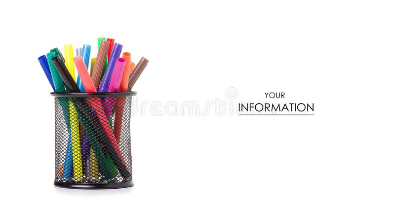 Stand for colour markers pattern. On a white background. Isolation royalty free stock photography