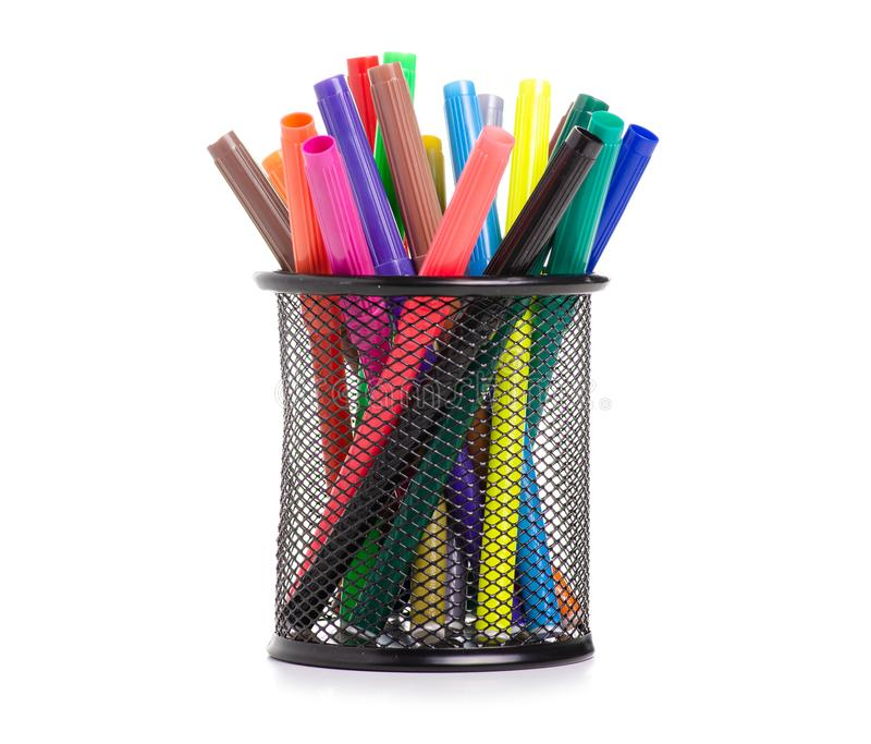 Stand for colour markers. On a white background. Isolation stock photos