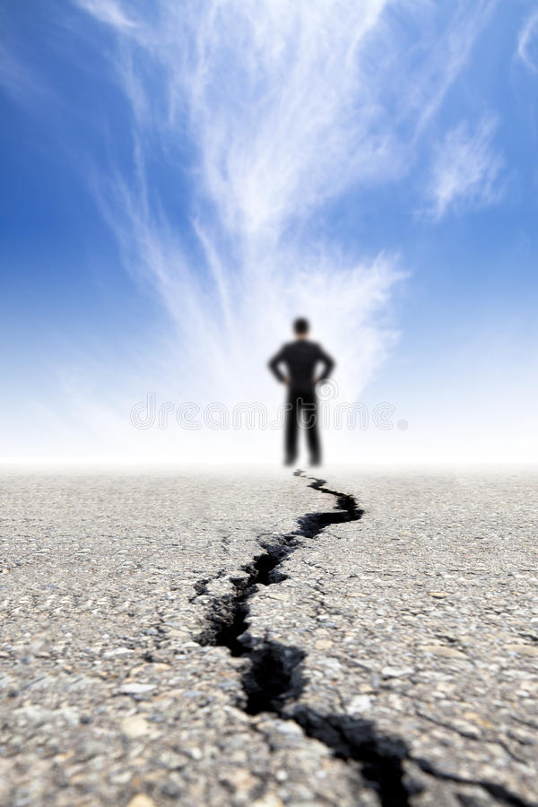 Download Stand on the crack road stock image. Image of thinking - 24223877