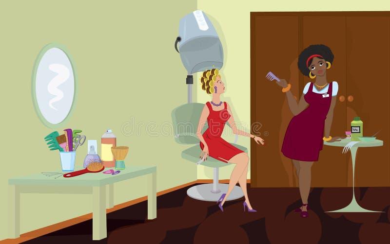 stand för sitting för salong för torrare hår för skönhetbeställare under royaltyfri illustrationer