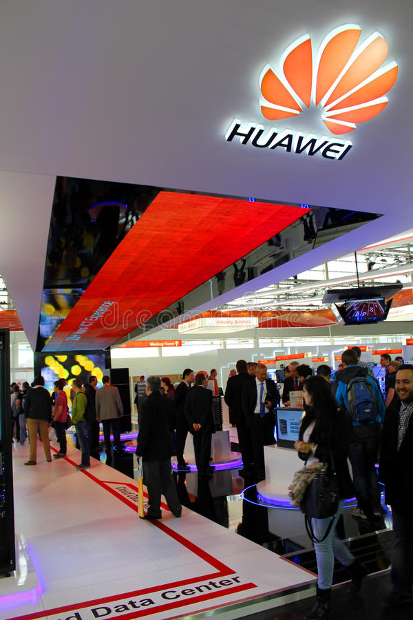 The Stand of Huawei. HANNOVER, GERMANY - MARCH 13: The Stand of Huawei on March 13, 2014 at CEBIT computer expo, Hannover, Germany. CeBIT is the world's largest royalty free stock photos