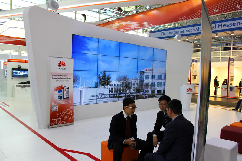 The Stand of Huawei. HANNOVER, GERMANY - MARCH 13: The Stand of Huawei on March 13, 2014 at CEBIT computer expo, Hannover, Germany. CeBIT is the world's largest royalty free stock images