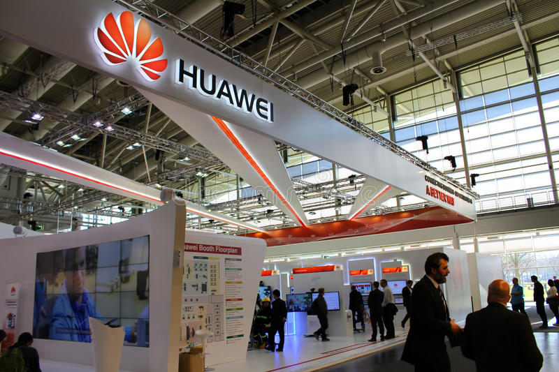 The Stand of Huawei. HANNOVER, GERMANY - MARCH 13: The Stand of Huawei on March 13, 2014 at CEBIT computer expo, Hannover, Germany. CeBIT is the world's largest stock photography