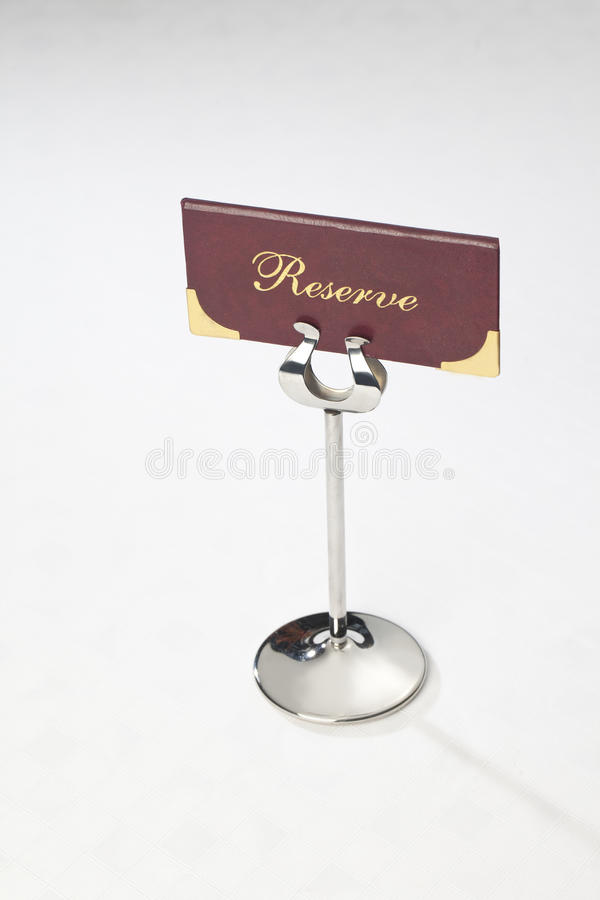 Stand with the inscription reserve stock photography