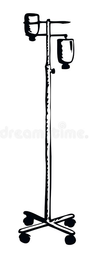 Stand for Intravenous therapy. Vector drawing. Dropper remedy iv supply system pole chamber device aqueous dextrose blood aid bag support isolated on white stock illustration