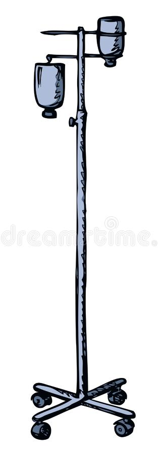Stand for Intravenous therapy. Vector drawing. Dropper remedy iv supply system pole chamber device aqueous dextrose blood aid bag support isolated on white vector illustration