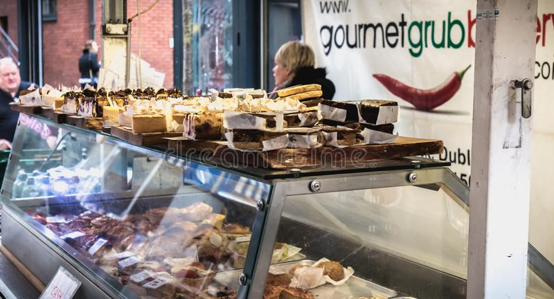 Stand of Irish bread, pastry and specialty vendor in the Temple Bar district in Dublin royalty free stock photos