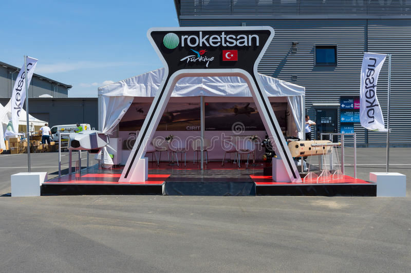 Stand major producer of Turkish weapons Roketsan. BERLIN, GERMANY - MAY 21, 2014: Stand major producer of Turkish weapons Roketsan. Exhibition ILA Berlin Air royalty free stock photo