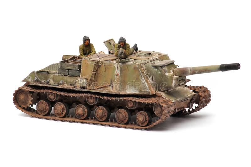 Stand model of a military battle tank stock image
