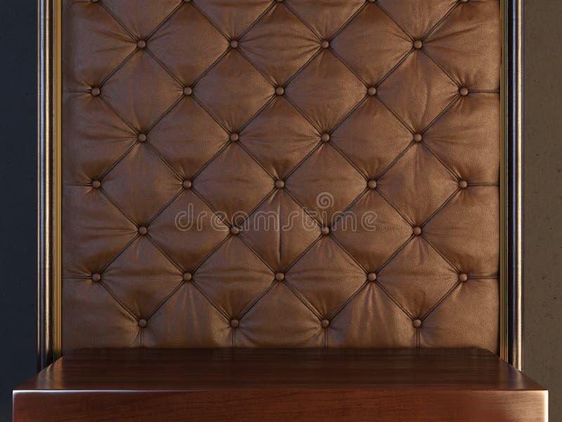 Stand mot ett brunt vadderat läder royaltyfri fotografi