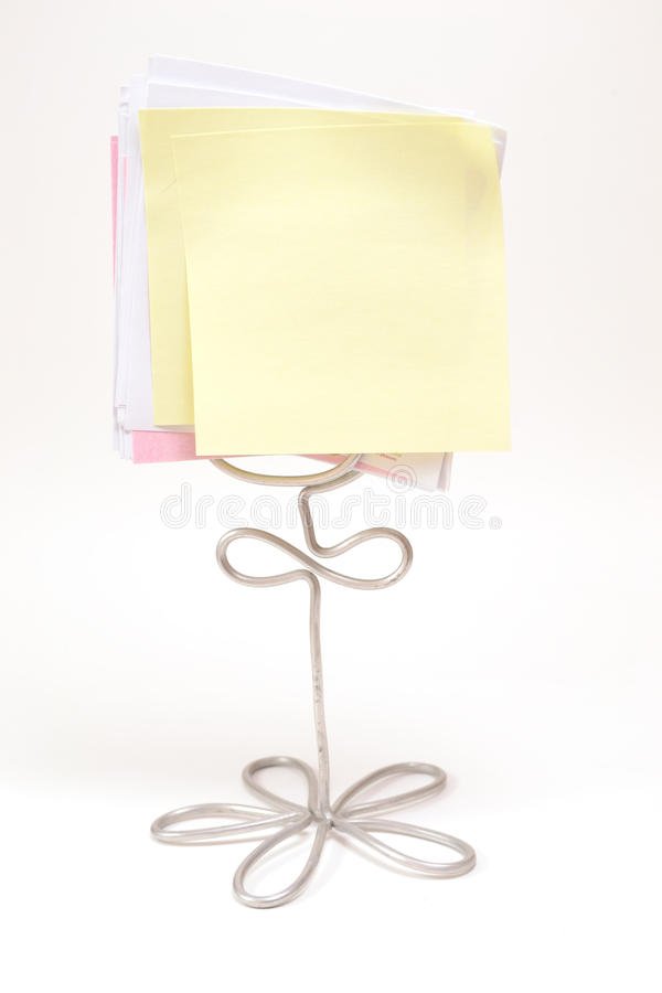Stand Note. The blank memo note on wire stand stock photo