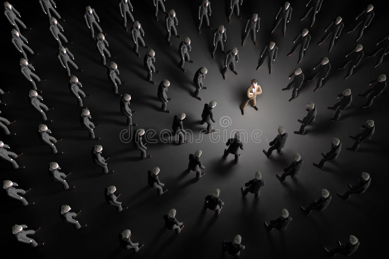 Stand out. A successful man shines light to surrounding grey men that are all looking towards him stock illustration