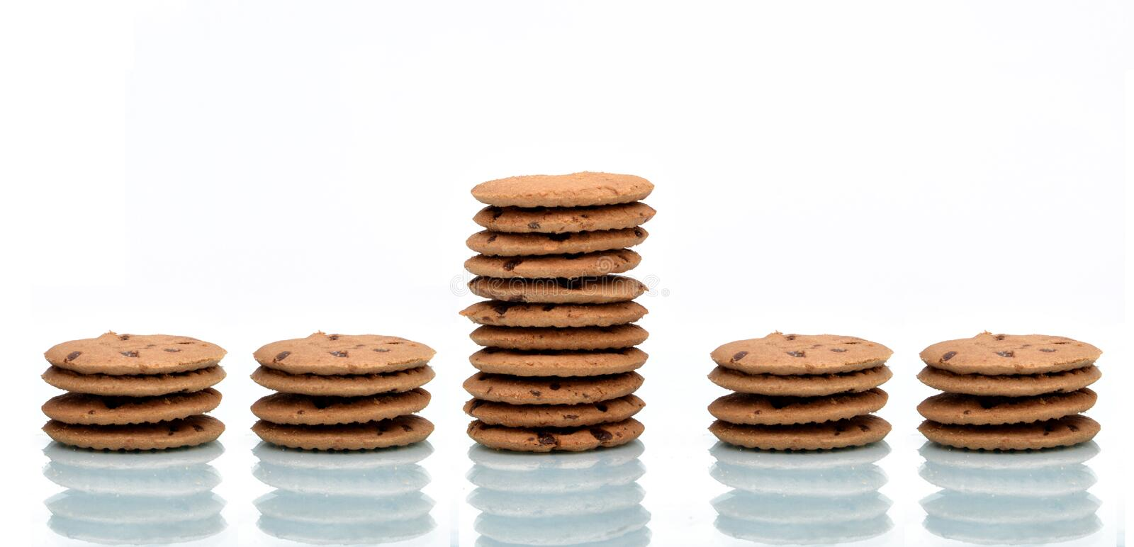 Stand out Concept using Chocolate Chip Cookies.  royalty free stock photos