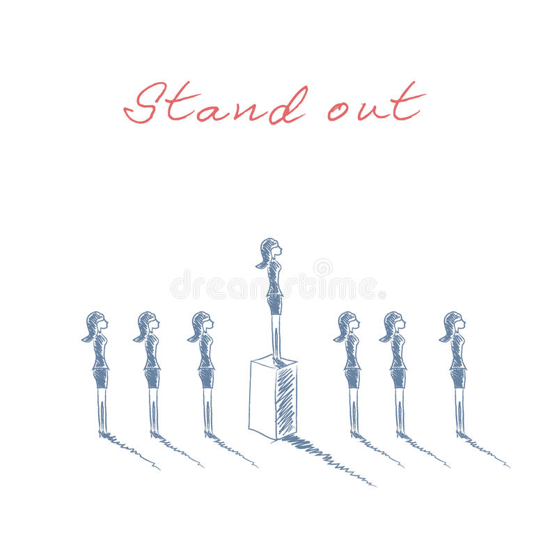 Stand out from the crowd business concept with businesswomen in line. Talent or special skills symbol. Hand drawn sketch royalty free illustration