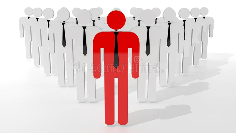 Stand out from crowd concept. Red man icon in middle of white man icons. Be different searching job.  royalty free illustration