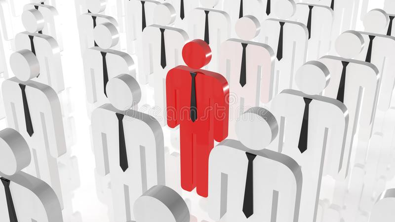 Stand out from crowd concept. Red man icon in middle of white man icons. Be different searching job.  vector illustration