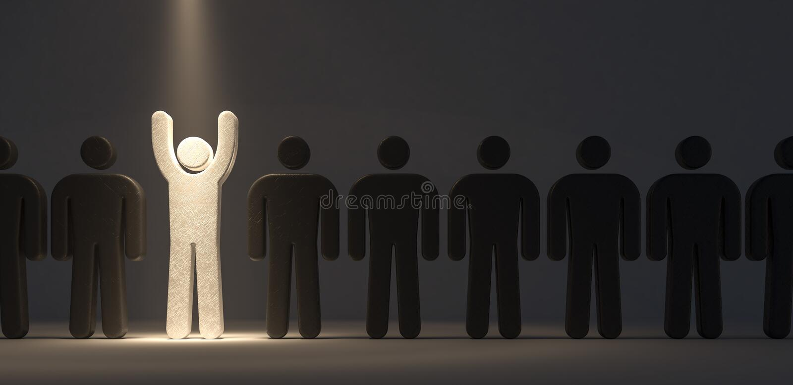 Stand out from the crowd and different concept 3d render stock illustration