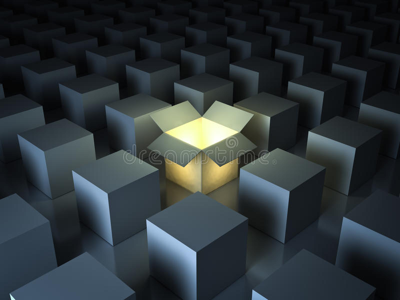 Stand out from the crowd , different creative idea concepts , One luminous opened light box glowing stock illustration