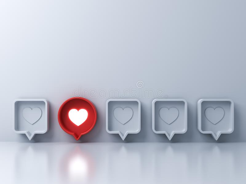 Stand out from the crowd and different creative idea concepts One red 3d social media notification Love like heart icon royalty free stock photo