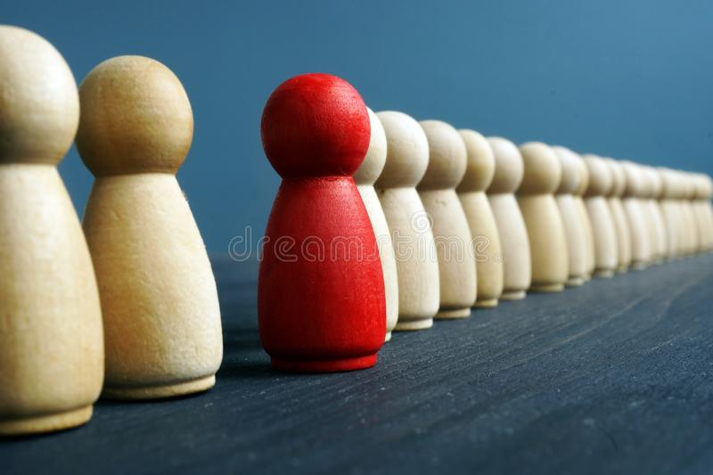 Stand out from the crowd. Individuality, originality and uniqueness. Concept royalty free stock image