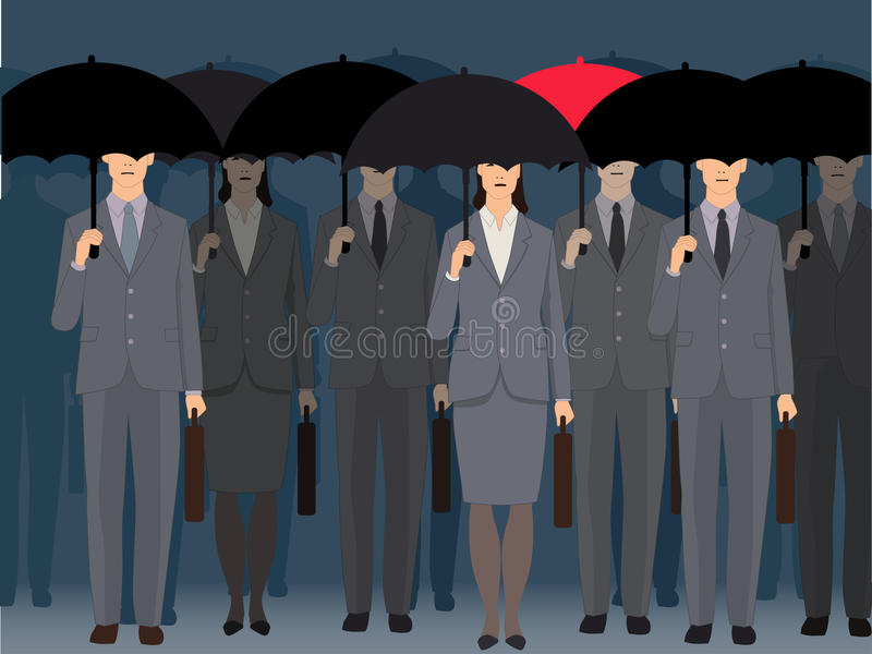 Stand out from the crowd. A man with a red umbrella standing an a crowd of faceless business people under black umbrellas, vector illustration stock illustration
