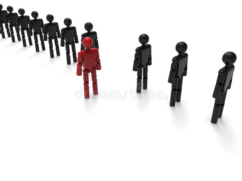 Stand out from the crowd - robot concept stock illustration