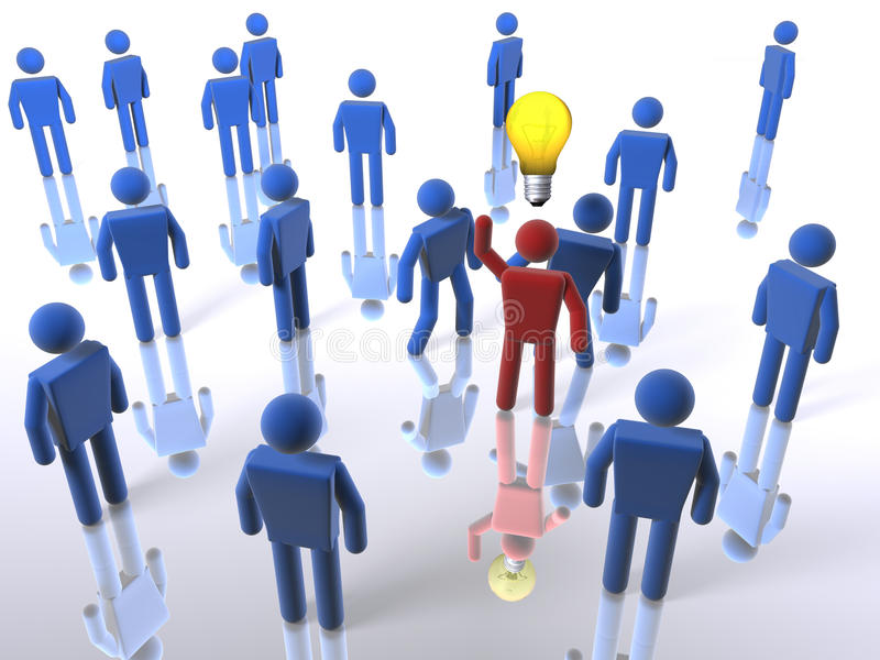 Stand out with an idea. 3D figure stands out from the crowd with an idea royalty free illustration