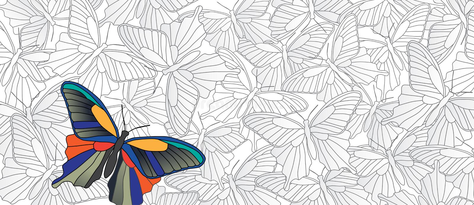 Stand out! Vector banner with many butterflies vector illustration