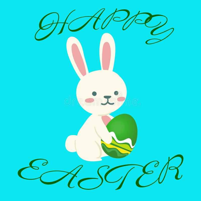 Stand rabbit holds Easter Egg royalty free illustration