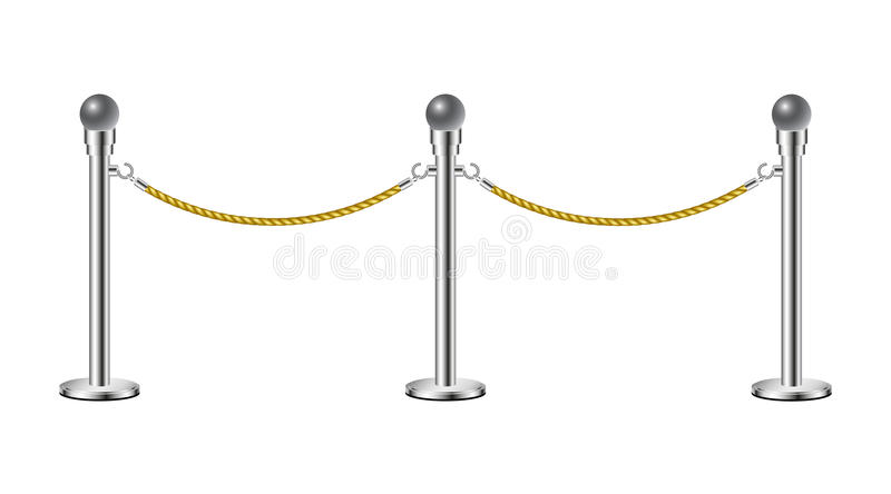 Stand rope barriers. Isolated on white background stock illustration