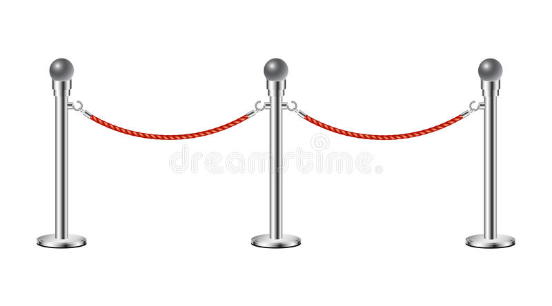 Stand rope barriers. In silver design with red rope on white background stock illustration