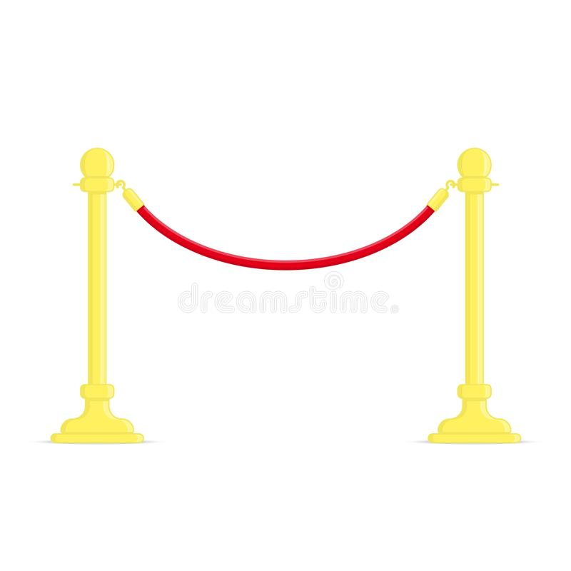 Stand rope barriers. Stand Ropes barriers in flat design style. Golden barricade with red rope isolated on white background. Vector illustration. EPS 10 vector illustration