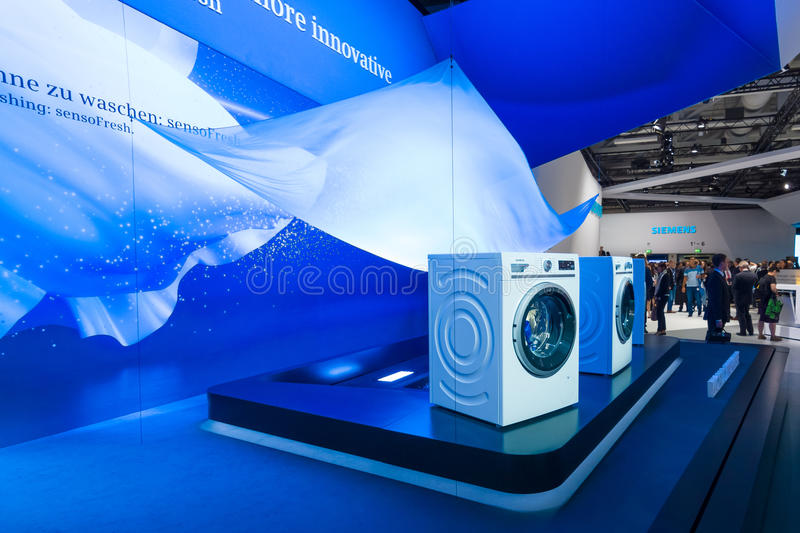 Stand by Siemens. World Premiere. BERLIN - SEPTEMBER 04, 2015: Stand by Siemens. World Premiere. International radio exhibition Berlin (IFA2015 stock photography