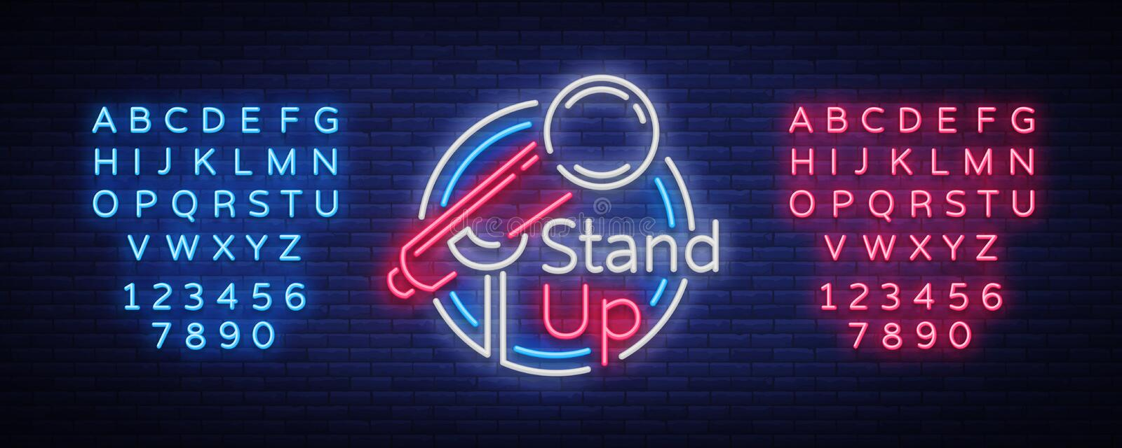 Stand Up Comedy Show is a neon sign. Neon logo, bright luminous banner, neon poster, bright night-time advertisement. Stand up show. Invitation to the Comedy stock illustration