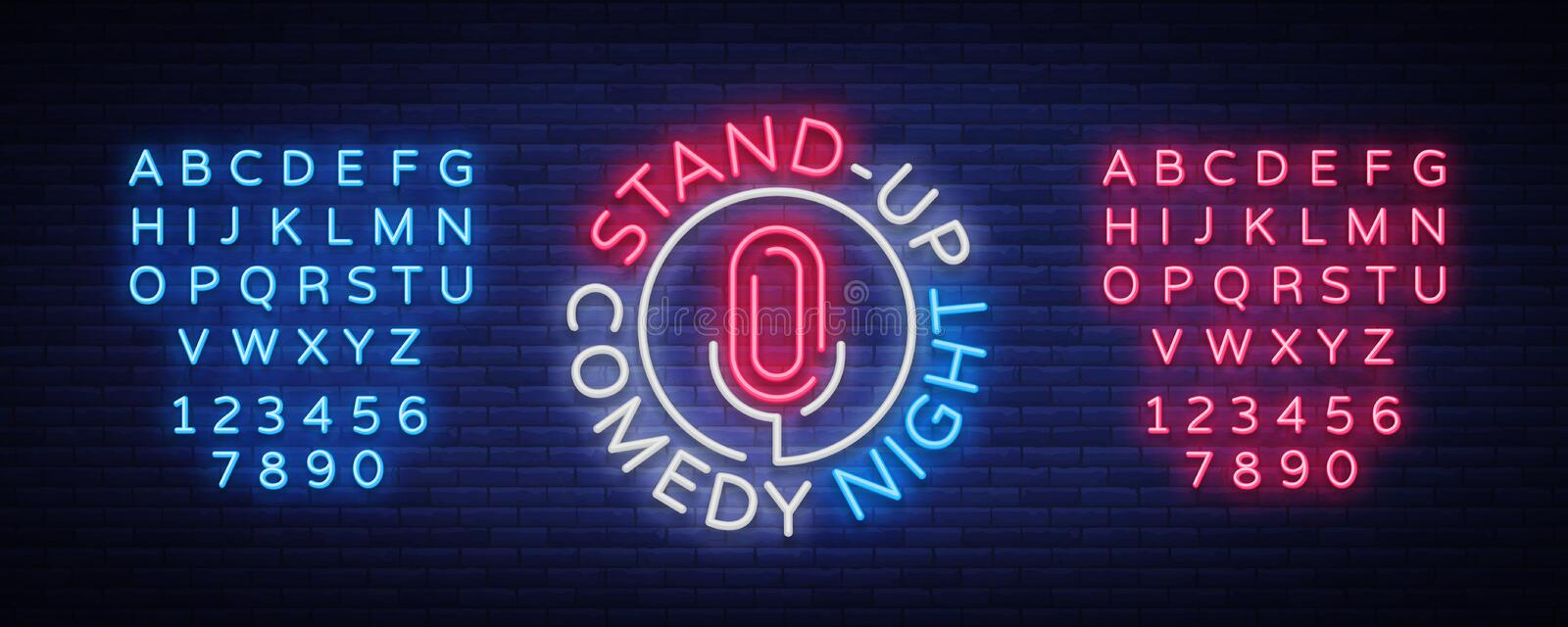 Stand Up Comedy Show is a neon sign. Neon logo, bright luminous banner, neon poster, bright night-time advertisement. Stand up show. Invitation to the Comedy royalty free illustration