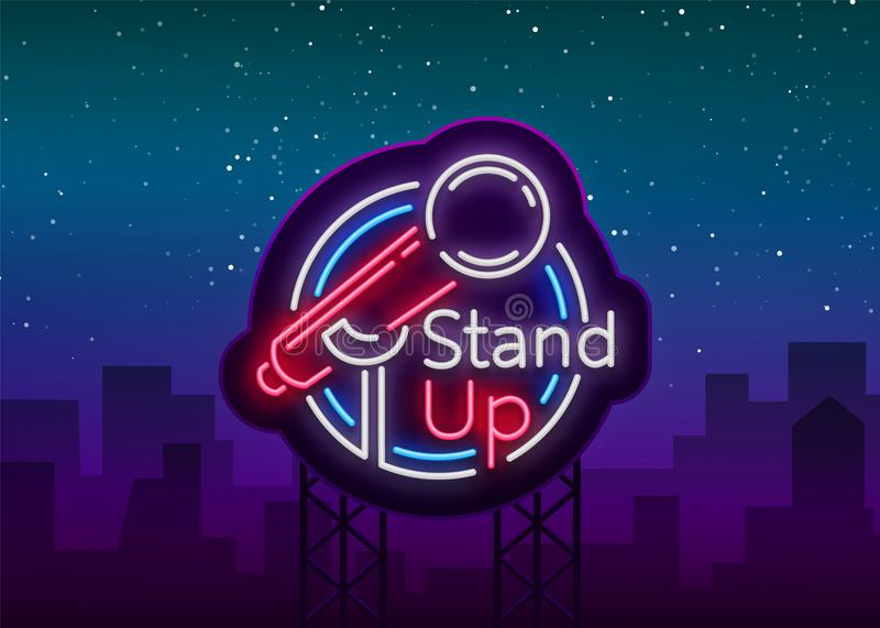 Stand Up Comedy Show is a neon sign. Neon logo, symbol, bright luminous banner, neon-style poster, bright night-time. Advertisement. Stand up show. Invitation stock illustration