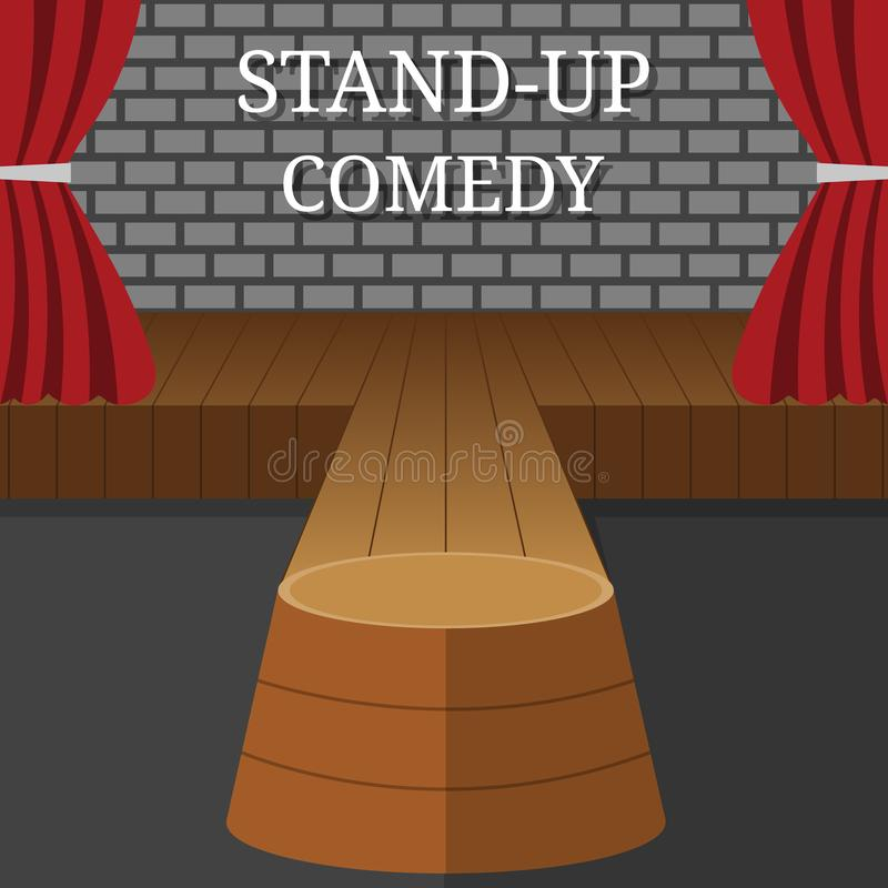 Stand-Up Comedy Vector Interior. Theater Scene with Red Curtains and Grey Brick Wall. Vector illustration for Your Design vector illustration